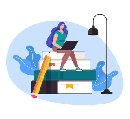 Woman girl student character sitting on laptop and watch online tutorial. Internet education concept vector flat graphic design flat illustration Illustration