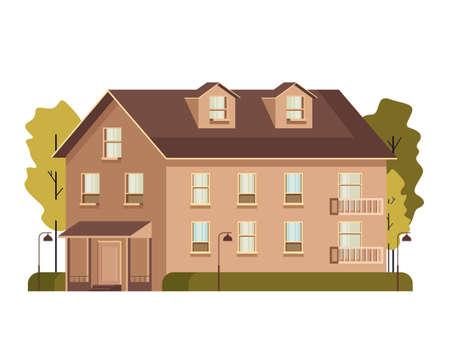 Single isolated on white background house concept vector flat graphic design flat illustration Illustration