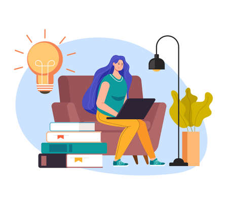 Woman girl student character sitting on laptop and watch online tutorial. Internet education concept vector flat graphic design flat illustration Banque d'images - 157488470
