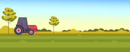 Farm landscape farmland tractor text place rural scene concept vector flat graphic design flat illustration