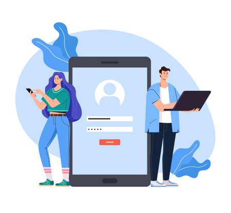 Register access login password internet online website concept vector flat graphic design flat illustration