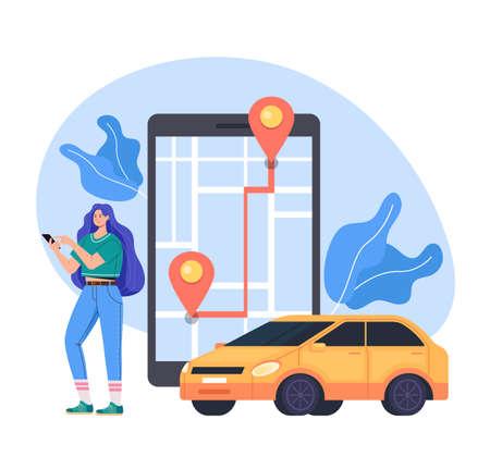 Online internet mobile phone app taxi car service concept vector flat graphic design flat illustration