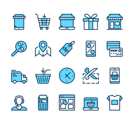 Online shopping commerce business retail isolated line icon set collection. Vector flat graphic design cartoon illustration Banque d'images - 157731659