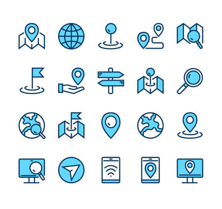 Navigation road location destination line icon isolated simple set vector graphic design concept Illustration