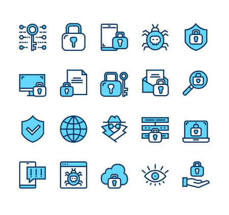 Personal data protection security isolated line icon set collection vector flat graphic design cartoon illustration Banque d'images - 157731663