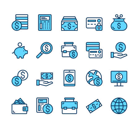Money currency business banking line simple icon isolated set vector graphic design concept