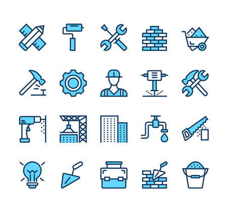 Building and construction simple line isolated icon set collection vector flat graphic design illustration Illustration