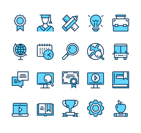 Education study learning university simple lone icon isolated set vector graphic design concept