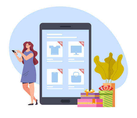 Woman consumer character making purchases by smartphone internet online vector flat graphic design illustration concept Banque d'images - 157729676