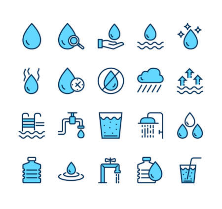 Water line simple pictogram isolated icon symbol set collection. Vector flat cartoon graphic design illustration