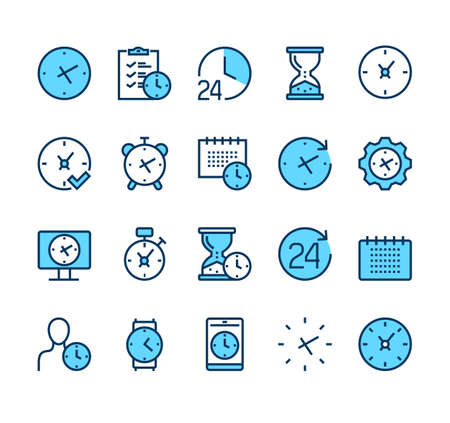 Time clock line icon isolated set. Vector graphic design illustration Illustration