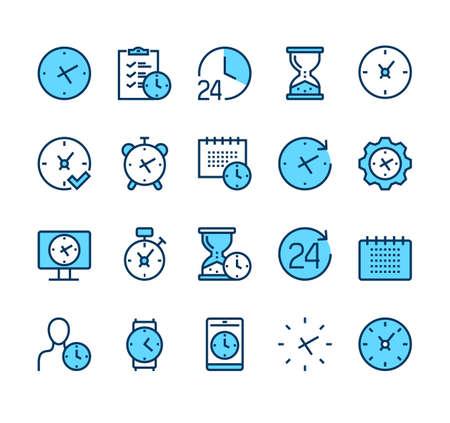 Time clock line icon isolated set. Vector graphic design illustration Illustration