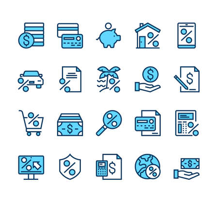 Credit and loan banking financial line simple icon isolated set vector graphic design concept