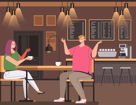 People man woman character drinking coffee in cafe bar vector flat graphic design illustration concept