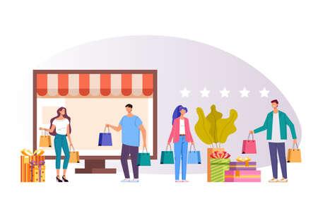 Online internet shopping vector flat graphic design illustration concept Illustration