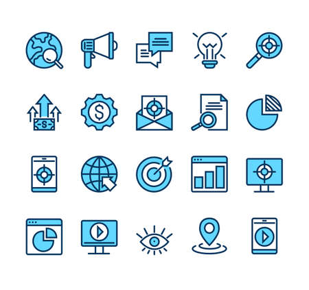 SEO target analytics management line icon isolated set. Vector graphic design illustration