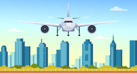 Airplane fly under modern city skyscrapers vector flat graphic design illustration concept