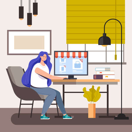 Woman character making purchases at laptop home. Online internet shopping vector flat graphic design illustration concept