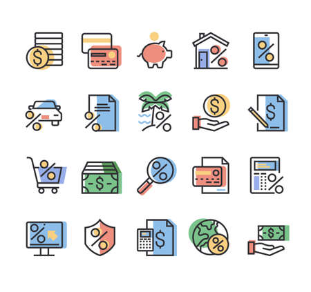 Color credit and loan banking financial line simple icon isolated set vector graphic design concept Ilustração