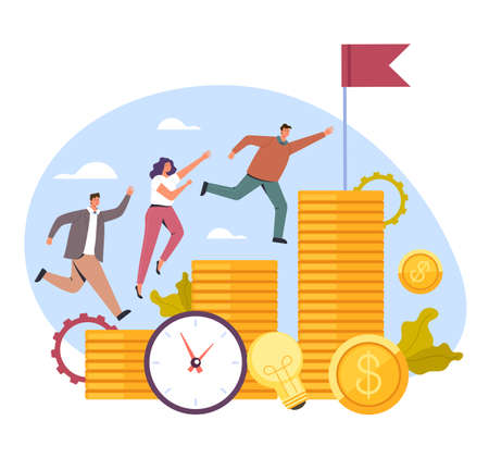 Business office people competition for money salary concept, vector flat cartoon graphic design illustration