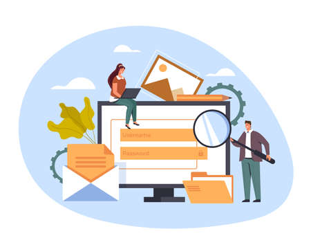 Content management internet website concept, vector flat cartoon graphic design illustration
