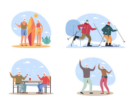 Elderly people couple man woman character having good time and activity vacation, vector flat cartoon graphic design illustration set Иллюстрация