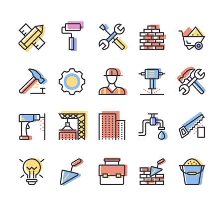 Building and construction simple line isolated colorful icon set collection vector flat graphic design illustration