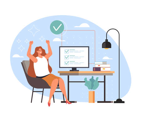 Completed task work done and happy woman worker business secretary, vector flat cartoon graphic design illustration Banque d'images - 159018854