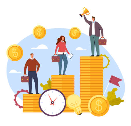 Salary income difference social problems concept, vector flat cartoon graphic design illustration