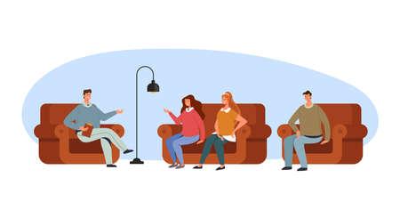 Psychologist therapy people problems addiction concept, vector flat cartoon graphic design illustration set Illustration