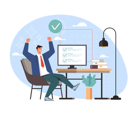 Completed task work done and happy man worker business secretary, vector flat cartoon graphic design illustration