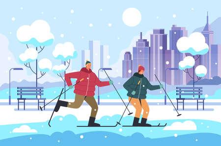People man woman couple characters skiing winter park, vector flat cartoon graphic design illustration Illustration