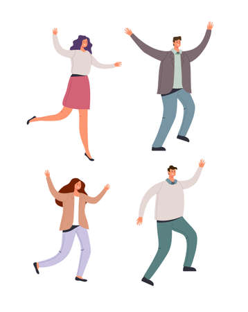 Happy smiling office workers dancing and jumping on white isolated background, vector flat cartoon graphic design illustration set
