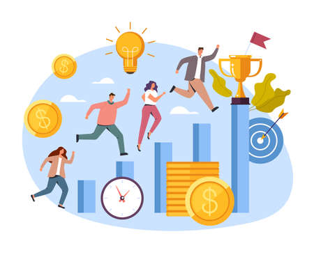 Business office career success competition concept, vector flat cartoon graphic design illustration