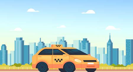 Yellow city taxi car cab mobile online internet application concept, vector flat cartoon graphic design illustration Illustration