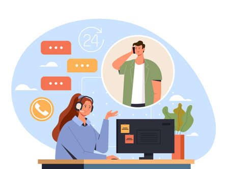 Woman call center worker consult man client concept, vector flat cartoon graphic design illustration Banque d'images - 159019099