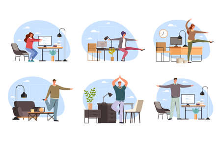 Office workers people character doing sport exercise at work, vector flat cartoon graphic design illustration set Illustration