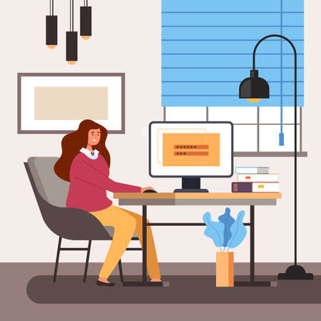 Business woman worker sitting in home room interior and work computer. Website username login password username account access concept vector flat cartoon graphic design illustration Illustration