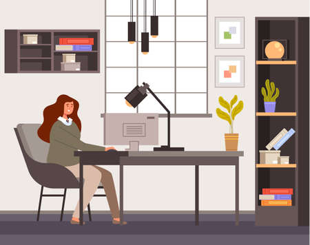 Business woman worker sitting in home room interior and working computer. Quarantine stay at home concept vector flat cartoon graphic design illustration Ilustração