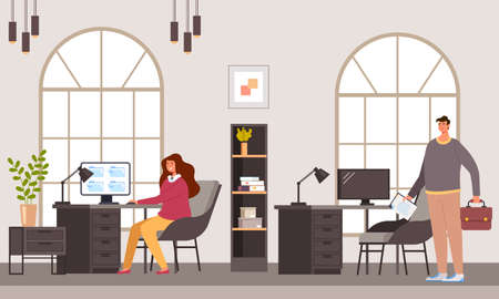 Business people office workers characters working together. Office life teamwork concept vector flat cartoon graphic design illustration Illustration