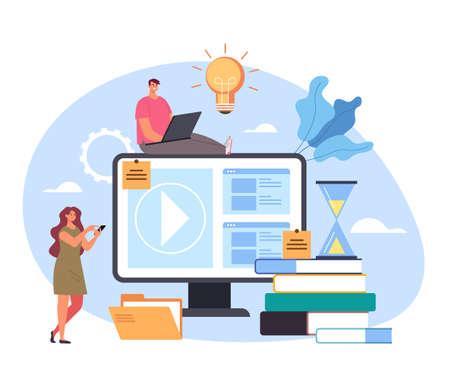 Online web internet digital home education tutorial training concept vector flat cartoon graphic design illustration