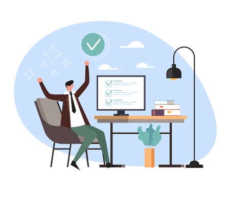 Happy business man office worker secretary done work job task concept. Vector flat cartoon graphic design illustration