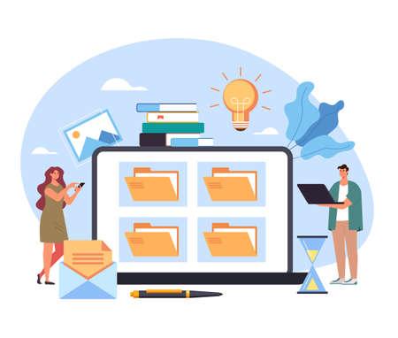 File folder documentation library personal database workplace cabinet organization management concept. Vector flat cartoon graphic design illustration Illustration