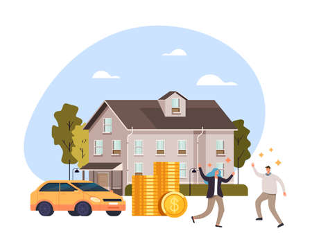 Happy smiling people couple man woman characters buy new car and new house. Bank credit loan deposit concept. Vector flat cartoon graphic design illustration Illustration