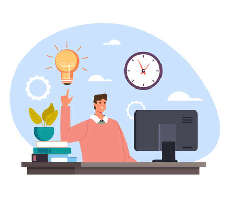 Businessman office worker manager character having good idea and holding finger up. Start up new business fresh idea concept. Vector flat cartoon graphic design illustration