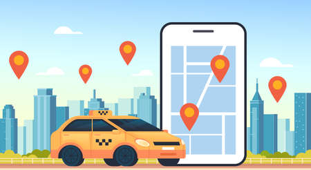Taxi mobile internet online uber carsharing parking concept vector flat cartoon graphic design illustration