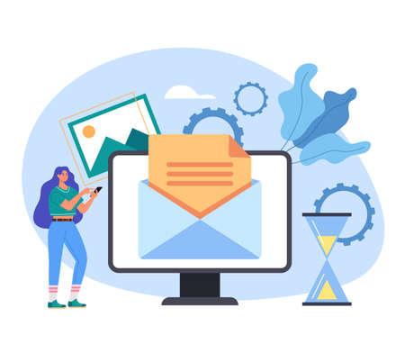 Online web internet electronic message spam feedback global communication mail letter envelope concept vector flat cartoon graphic design illustration