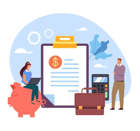 Business consultation start up conference presentation finance development management bookkeeping accounting concept. Vector flat cartoon graphic design illustration