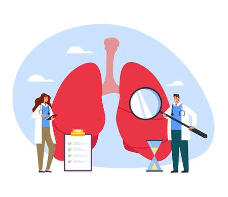 People medicine workers doctors nurse making medicine diagnostic research lungs. Healthcare and medicine concept vector flat cartoon graphic design illustration Illustration