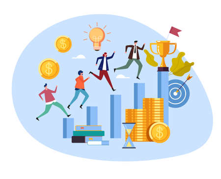 People office workers businessmen colleague character running and compete for money salary income work concept. Vector flat cartoon graphic design illustration